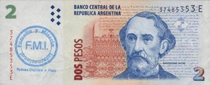 Dos Pesos estampados F.M.I. Famelia y Miseria Internacional