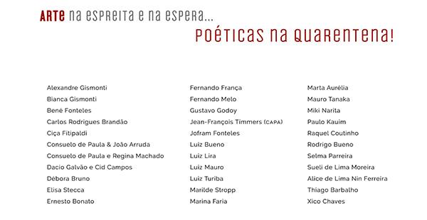 Artistas Particinantes na publicação Poéticas na quarentena - arte na espreita e na espera Volume III
